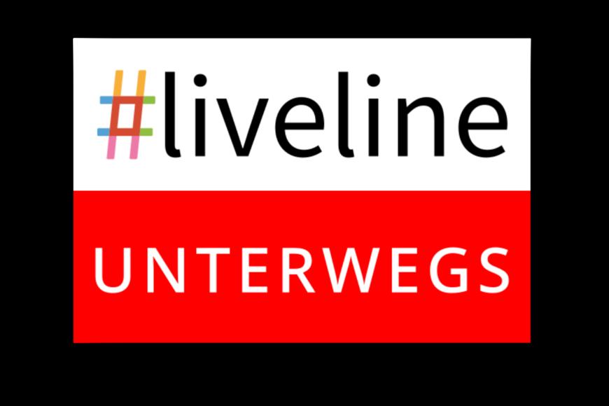 Eine Grafik unterteilt in rot und weiß: Im weißen Bereich oben steht #liveline. Im roten Bereich unten steht unterwegs. - Copyright: Philine Eidt
