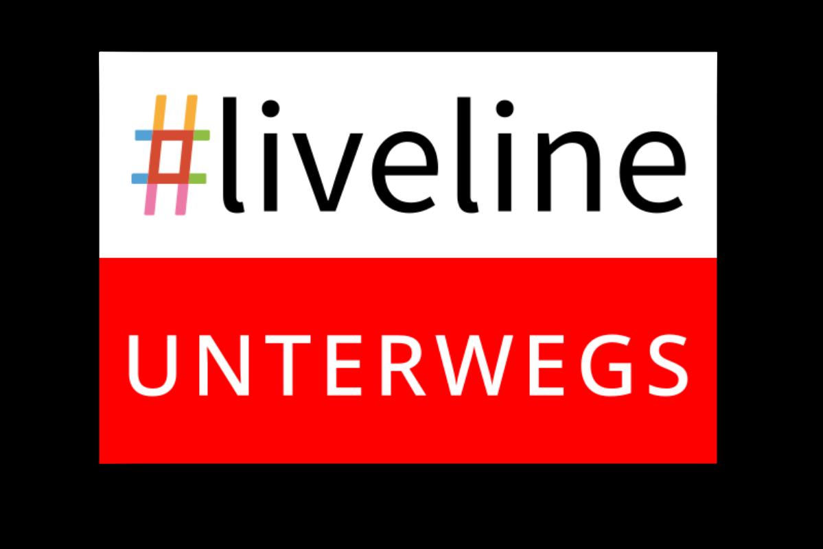 Eine Grafik unterteilt in rot und weiß: Im weißen Bereich oben steht #liveline. Im roten Bereich unten steht unterwegs.